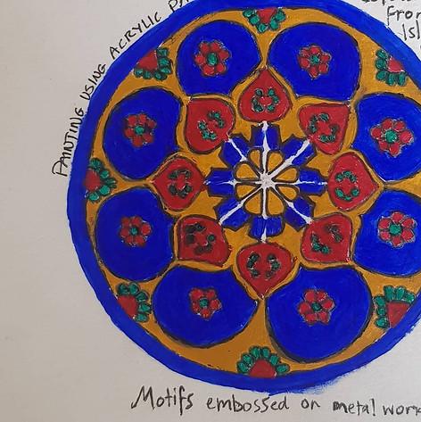 Islamic patterns made using acrylic paint