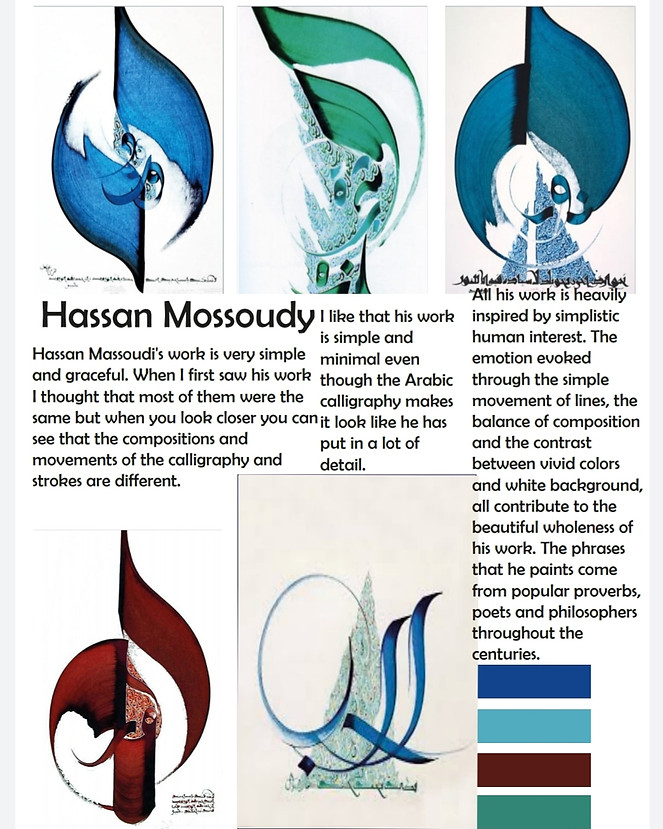 Artist research on Hassan Massoudy