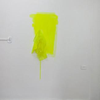 Sem título, 2011 Tinta acrílica, acrílico, cabide,  plástico e lacre de nylon. Dimensões variáveis