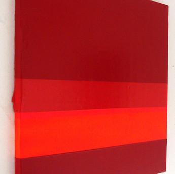 Massa de cor vermelha, 2015 Tinta acrílica, tinta spray e tinta serigráfica sobre tela. 50x50xm