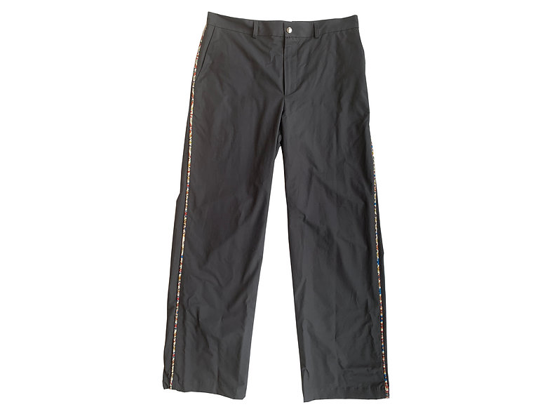 SLATE BRUSHED PIPING TROUSERS