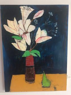 Rita Bhasin  Lilies & A Pear