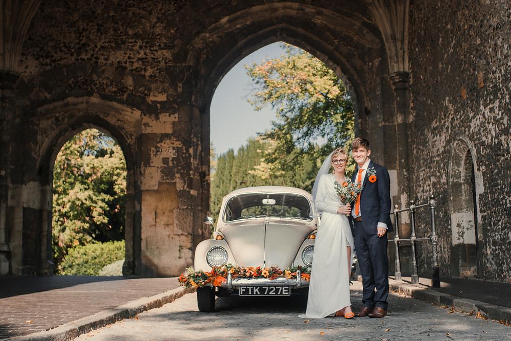 VW Beetle Wedding Car at St. Albans Abbey