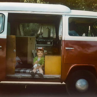 Jack in the back of the 'Daddy van'
