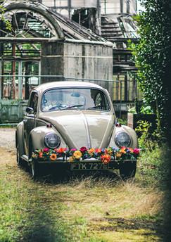 Colourful wedding car VW Beetle