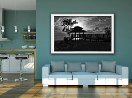 Framed coastal art