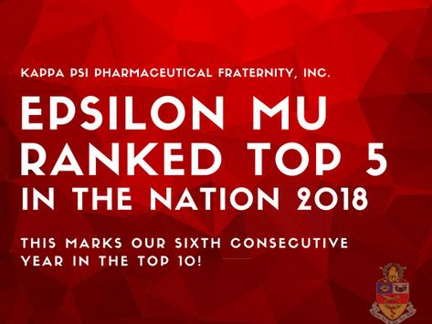 Epsilon Mu Ranks #5 in the Nation!