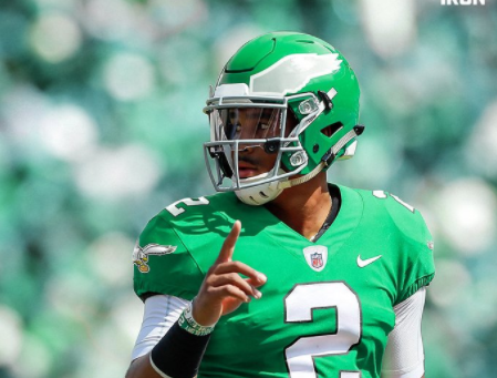 Jalen Hurts in Kelly Green Makes NFL's One Helmet Rule Look Like an Absolute Felony