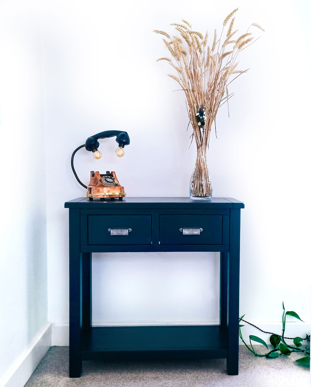 Upcycled Console Table repainted in Farrow & Ball Railings No.31