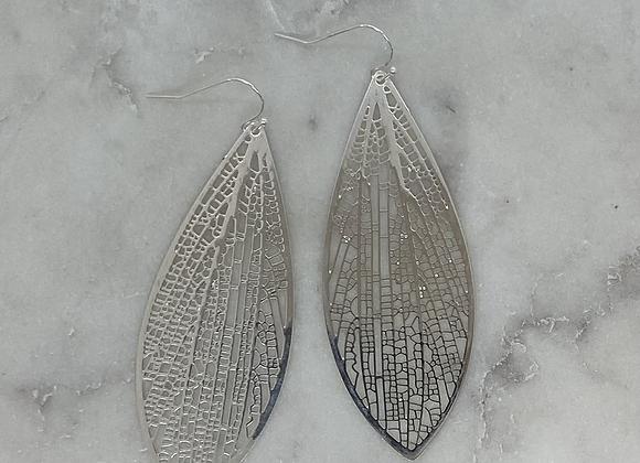 Long Leaf Drop Silver