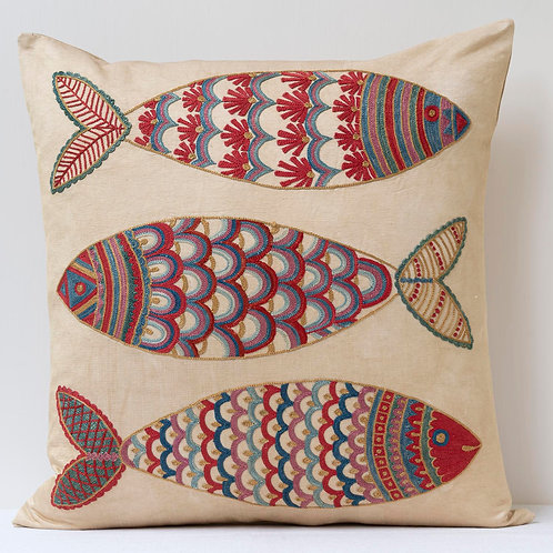 "(F24) Approx. 50cm/ 20"" square cushion - silk hand embroidered fish m"