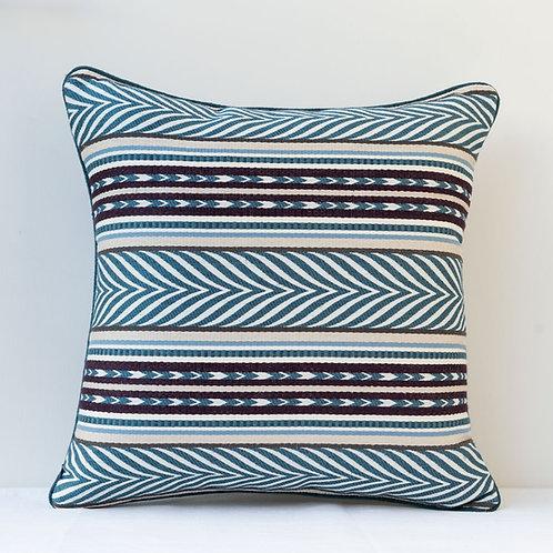 """45cm/ 18"""" blue cream aubergine Aztec fabric cushion"""