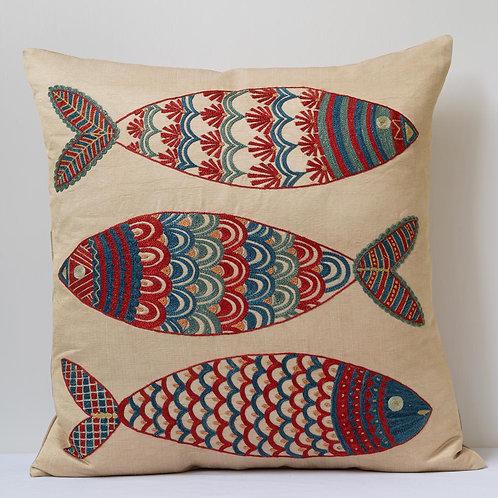 "(Q) Approx. 50cm/ 20"" square cushion - silk hand embroidered fish motifs"