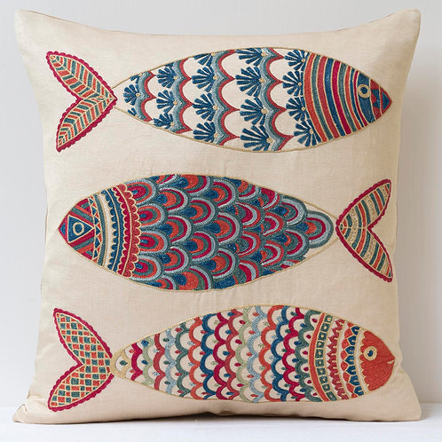 """(F20) Approx. 50cm/ 20"""" square cushion - silk hand embroidered fish"""