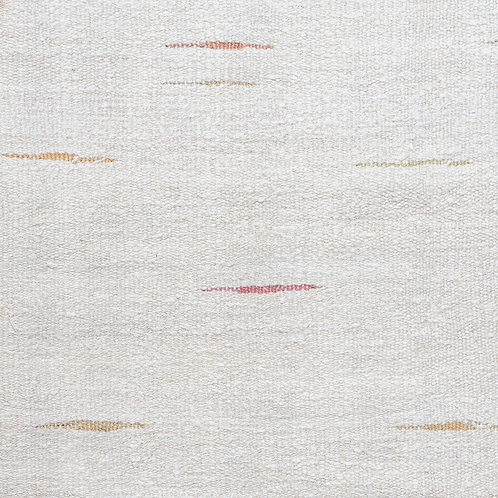 Rectangular pale dashes/natural hand woven hemp kilim