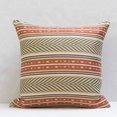 "50cm/ 18"" Olive copper cream Aztec fabric cushion"