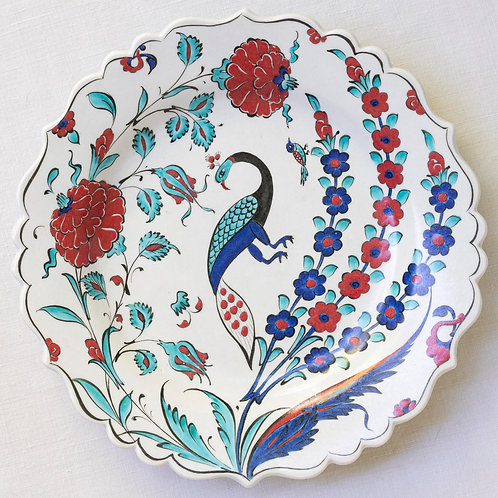 Highly decorative reproduction 16th century fluted Iznik plate 4