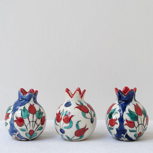 Set of 3 hand painted ceramic mini pomegranates