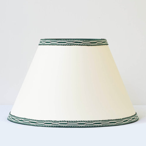 """C5 14"""" / 36 cm base cream card shade with hand woven green ivory trim"""