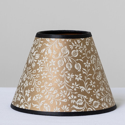 "6"" (15cm) base  gold white card shade with black trim"