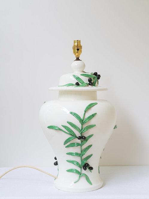 "Unusual and decorative ""olive"" lamp base"