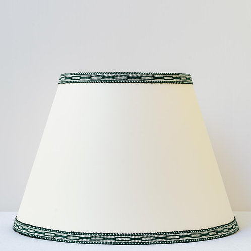"12"" (30cm) base cream card shade with hand woven green trim"