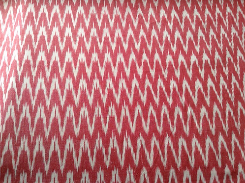 Pink and white zig zag hand woven cotton fabric