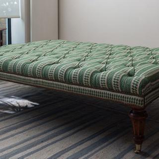 Ottoman in Susan's Patmos Hedge Green fabric
