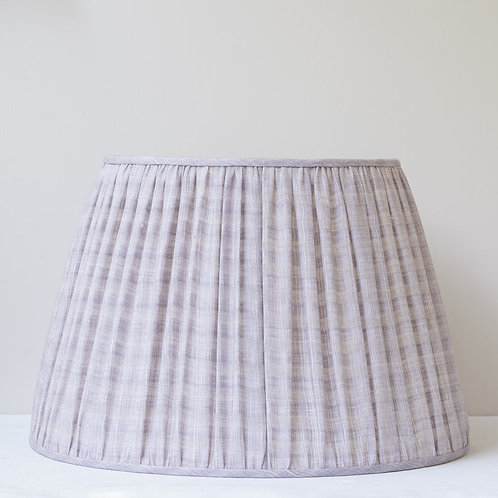 """18""""/45cm base single grey finely checked linen lampshade"""