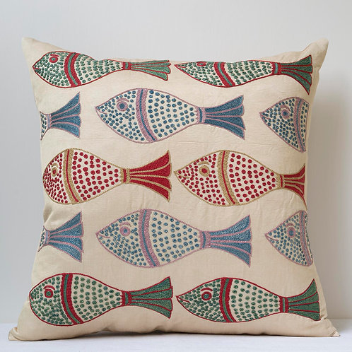"Approx. 50cm/ 20"" square cushion - silk hand embroidered fish motifs 19"