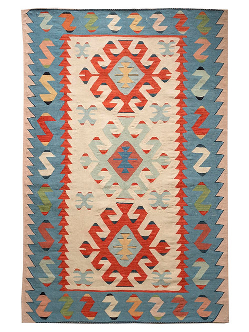 Rectangular hand woven Anatolian wool kilim