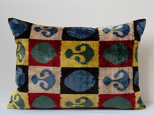Rectangular antique hand woven and cut silk velvet cushion