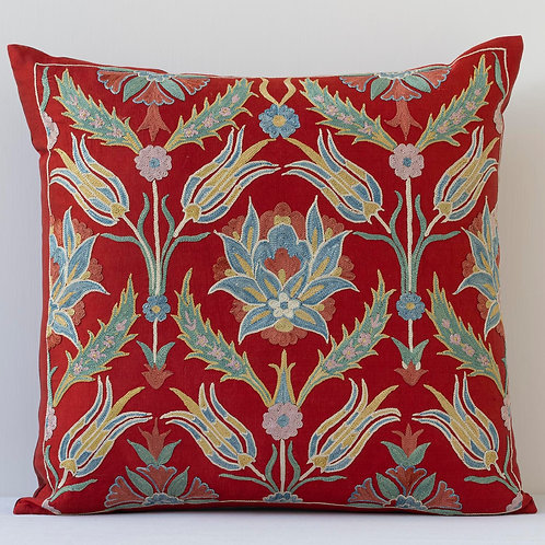 """Approx. 50cm/ 20"""" square cushion - silk hand embroidered Ottoman motifs"""