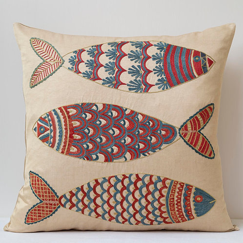 "(A22) Approx. 50cm/ 20"" square cushion - silk hand embroidered fish m"