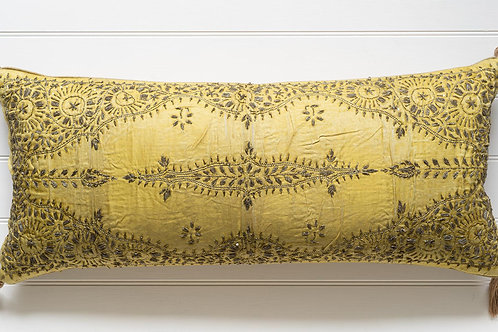 Large bolster cushion with antique Ottoman silk embroidery