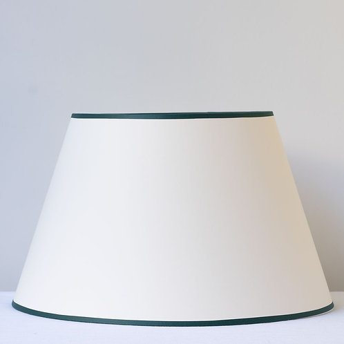 "14""/36cm base cream Empire card shade with forest green trim"