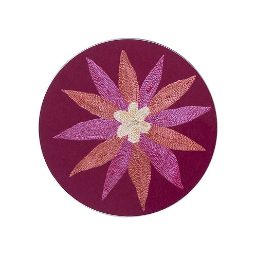 6 Daisy and garland coasters in burgundy (price is for the set)