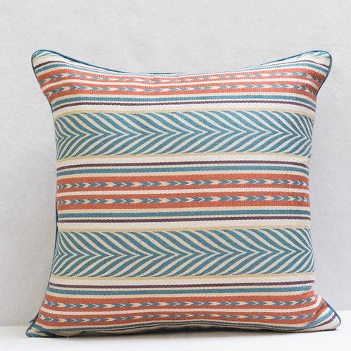 Blue copper cream Aztec fabric cushion