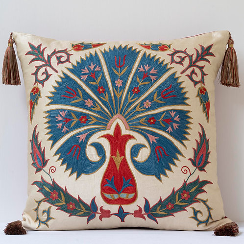 """20""""/ 50cm square silk hand embroidered cushion with tassels"""