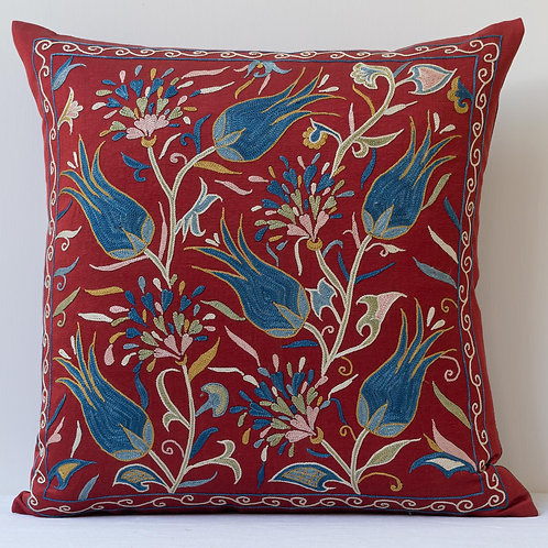 """Approx. 50cm/ 20"""" red square cushion - silk hand embroidered Ottoman tulips"""