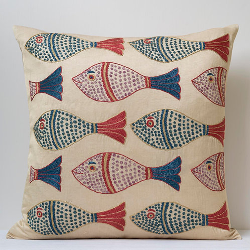 """Approx. 50cm/ 20"""" square cushion - silk hand embroidered fish motifs 27"""
