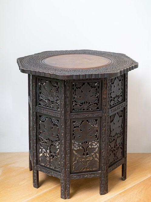 Large antique carved folding table