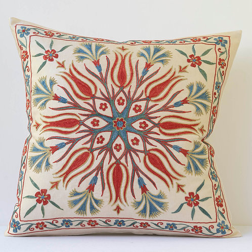 """J4 Approx 50cm/ 20"""" square cushion - silk hand embroidered Ottoman floral motifs"""
