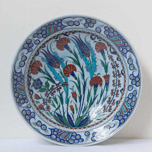 Large convex quartz ceramic plate with Iznik style  motifs (D)