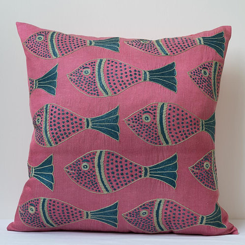 "(B) Approx. 50cm/ 20"" pink square cushion - silk hand embroidered fish motifs"