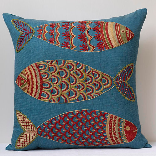 """Approx. 50cm/ 20"""" square cushion - silk hand embroidered fish motifs 24"""