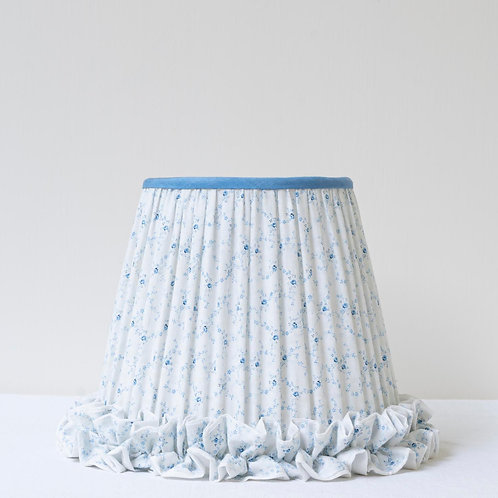 """Pretty blue white 8""""/ 20cm base lampshade with frilled"""