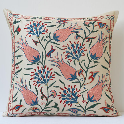 """Approx. 50cm/ 20"""" square cushion - silk hand embroidered pink Ottoman tulips"""