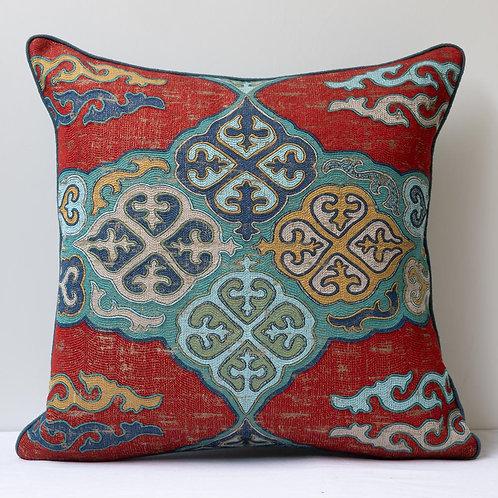 "20""/ 50cm square Kirghiz weave/ teal antique hemp cushion"
