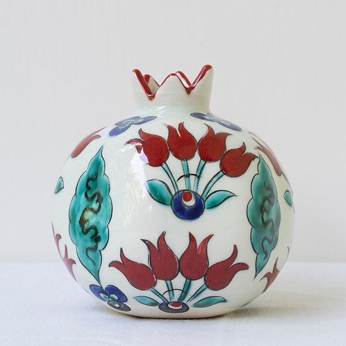 Large hand painted ceramic pomegranate D